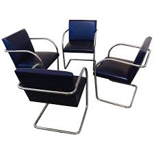 set of four vintage brno tubular stainless steel chairs by brueton la porte for