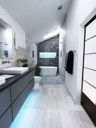 example of a mid sized trendy master gray tile and stone tile limestone floor bathroom