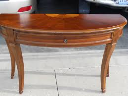 furniture half circle dining table moon entry glass foyer mirror hall console small cappuccino finish