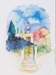 gateway from alonnisos greece watercolor painting by annie wood