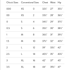 Chicos Size Chart