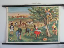 Vintage Wall Chart Vintage School Chart Wall Chart Of Autumn Scrumping Apples Children Playing