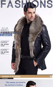 mens wear fur collar leather jacket black fur jacket men sheepskin coats thick warm winter men leather er