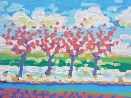 crab apple trees in the snow outside cincinnati superior honda heavy impressionism oil painting by local