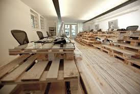 pallet office. pallet floors and tables at the brandbase office by most architecture s