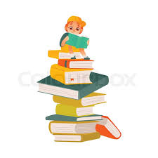 vector cartoon small boy male or kindergarten character sitting at big book column stack reading textbook smiling pre child student