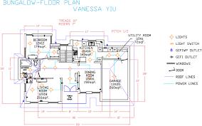 splendid house plans autocad autocad bungalow floor plan vanessa s portfolio house plan autocad drawing free