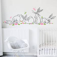 cute bunny s dragonflies flowers wall art sticker on wall art decal nursery with nursery wall art decals nursery wall art decals south africa