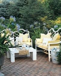 white iron outdoor furniture. white furniture with yellow geometric patterns make a perfect outdoor iron