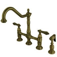 victorian cross 2 handle bridge kitchen faucet with side sprayer in vintage brass