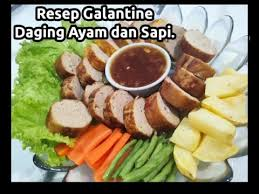 Bahan utama pembuatan galantin adalah ikan dan juga berbagai daging ternak seperti daging sapi, kambing, ayam, babi, bebek dan lainnya. Resep Galantin Ayam Dan Sapi Indonesian Food Youtube
