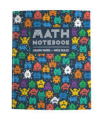 Math Notebook Graph Paper Wide Ruled Video Game Aliens