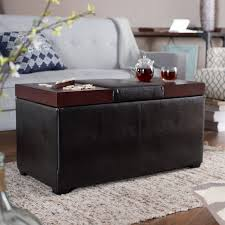fetching rectangular leather ottoman coffee table design engineered wood and pu black faux upholstery chic espresso finish two rich cherry tray feature