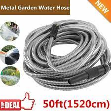 50 ft stainless steel metal garden water hose lightweight flexible uv resistant for