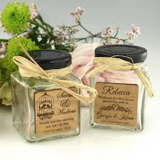 110ml Square Wedding Favour Jar With Wooden Plaque Engraved