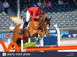 Rotterdam. Netherlands. 22 August 2019. Jos Verlooy (BEL) riding Igor into  5th place individually after the second qualifying competition at the  Longines FEI European Championships. Showjumping.Credit Elli Birch/SIP  photo agency/Alamy live news