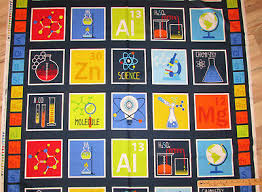 Geek Chic Science Chemistry Periodic Table Chart Fabric By
