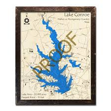 Lake Conroe Nautical Chart Lake Conroe Texas 3d Wooden Map Framed Topographic Wood Chart