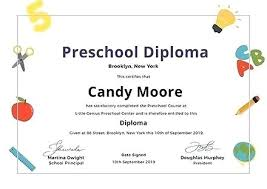 free preschool certificates preschool diploma certificate template graduation