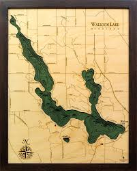 Walloon Lake 3 D Nautical Wood Chart 16 X 20 Dark Frame