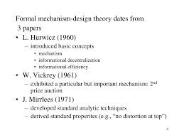Mechanism Design Theory Ppt Recent Contributions To Implementation Mechanism