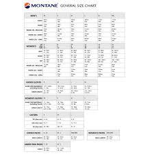 Montane Size Chart Coastal Sports