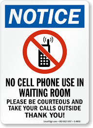 No Cell Phone Use In Waiting Room Sign Be Courteous Signs Sku S 8859