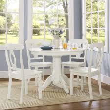 aubrey 5 piece traditional height pedestal dining set white