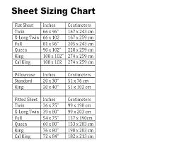 Sheet Measurement Chart King Sheet Size Obago Co