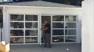 aluminum clear glass garage door with a passing with top glass garage doors