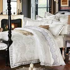sunnyrain 4 6 pieces white jacquard silk cotton luxury bedding set king size queen bed
