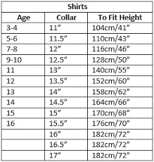 Shirt Neck Size Conversion Chart Size Guide General Schoolwear
