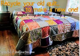 DIY King Size Rag Quilt {Repost} - Spoonful of Imagination & recycle old quilt to sew new one Adamdwight.com