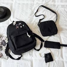 <b>2019 New</b> 4Pcs/Set Casual <b>Women Backpacks</b> Canvas Book Bags ...
