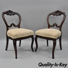 pair of antique victorian mahogany balloon back parlor side chairs fl carved