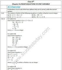 cbse class 8 mathematics chapter 4 linear equations in variable exemplar solutions