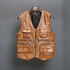 bonjean multi pocket zipper cow leather vest men s genuine leather waistcoat jacket moto biker vests for men high quality l 8xl