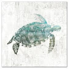 turquoise sea turtle canvas wall art