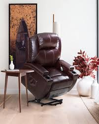 Power Lift Recliner For Elderly With Brown Bonded Leather,Cup Holders & Arm  Storage rotate image