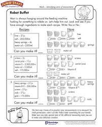 Robot Buffet – Measurement Worksheets for Kids – JumpStartRobot Buffet - Free Math Worksheet for Kids