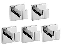 Towel Hook Bathroom Five Modern Square Stainless Steel Bathroom Toilet Wall Mounted