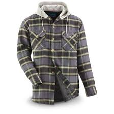 Men's Quilt-Lined Hooded Flannel Shirt - 665227, Shirts at ... & Drawstring hood Adamdwight.com