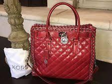 Michael Kors Hippie Grommet Hamilton Large Leather N/s Tote Bag ... & MICHAEL KORS HIPPIE GROMMET HAMILTON LARGE NS TOTE QUILTED LEATHER DARK RED  $458 Adamdwight.com