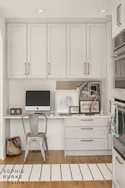 kitchen cabinets for home office. kitchen office in gray cabinets white quartz brass hardware for home 2