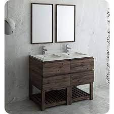 Formosa 48 Floor Standing Double Sink Modern Bathroom Vanity With Open Bottom Mirrors Walmart Com Walmart Com