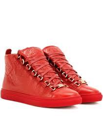 balenciaga arena high top leather sneakers red womens balenciaga sneakers n40m9172