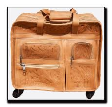 ropin west leather hand tooled office on wheels briefcase 9482