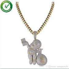 2019 mens hip hop jewelry iced out chains designer necklace mario money bag pendant simulated diamond cz cuban link chain wedding accessories from