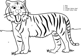 Small Picture Color By Number TigerByPrintable Coloring Pages Free Download
