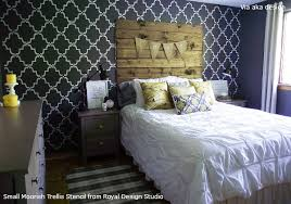 bedroom stencil ideas. rustic chic bedroom stenciling paint pattern stencil ideas